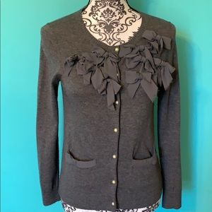 Ann Taylor Bow Pearl Button Down Cardigan SP